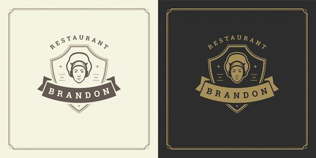 Restaurante logotipo modelo ilustração homem chef cabeça no símbolo do boné e decoração bom para menu e café sinal.
