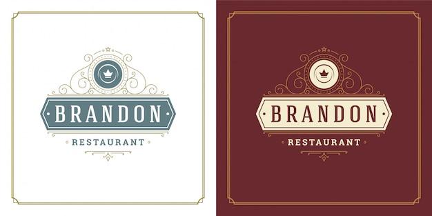 Restaurante logotipo modelo ilustração prato prato símbolo e ornamento redemoinhos bons para sinal de menu e café.