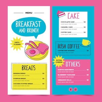Restaurante menu café da manhã e brunch