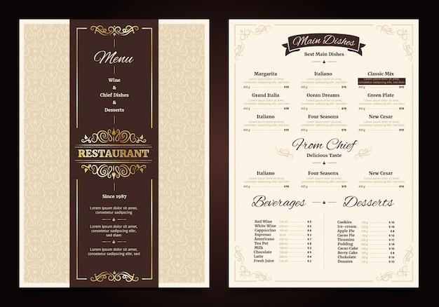 Restaurante menu vintage design com frame ornamentado e fita chef pratos bebidas