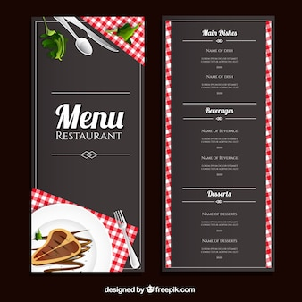 Restaurante modelo de menu