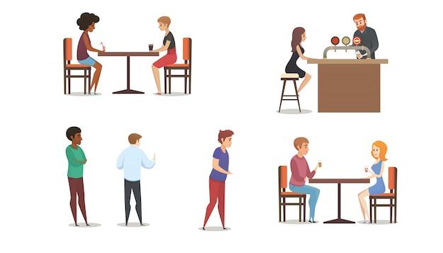 Restaurante ou bar multinational clientes vector set