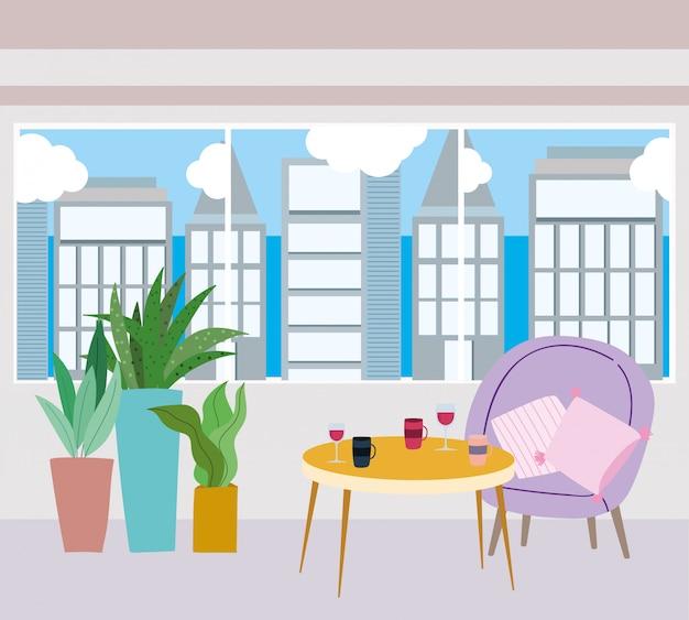 Restaurante ou uma mesa de café com taças de vinho e xícara de café na mesa e plantas