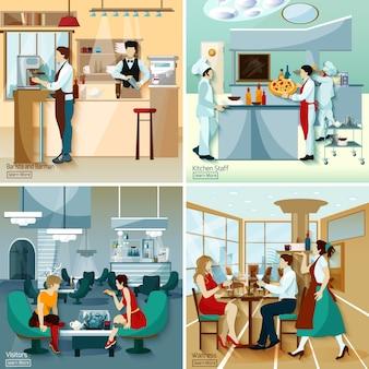 Restaurante pessoas 2x2 concept