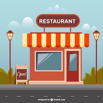 Restaurante plano com postes de iluminação