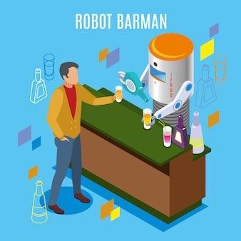 Restaurante robótico isométrico