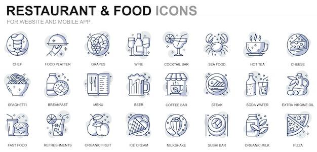 Restaurante simples conjunto e ícones de linha de comida para o site e aplicativos móveis