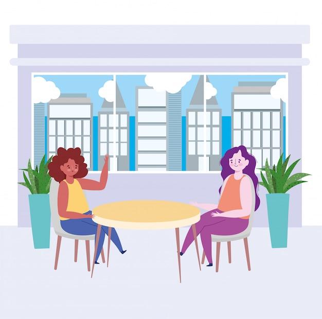 Restaurante social distanciamento, duas mulheres conversando em novo normal, coronavírus