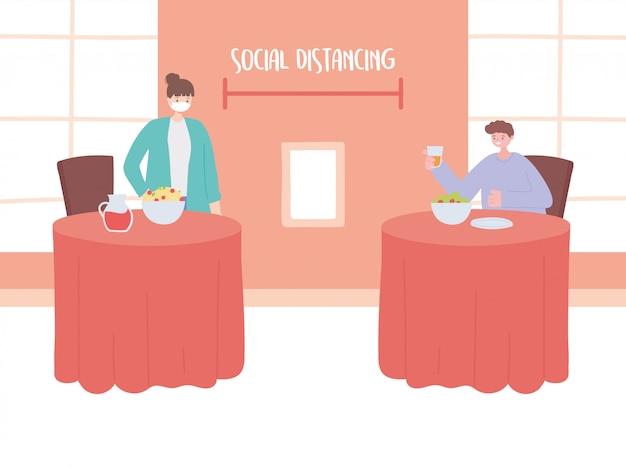 Restaurante social distanciamento, pessoas comendo distância um do outro para evitar surtos de doenças, pandemia
