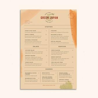 Restaurante verde japão comida menu estilo vintage