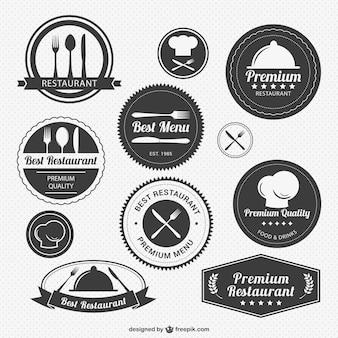 Restaurante vintage pacote de logotipo