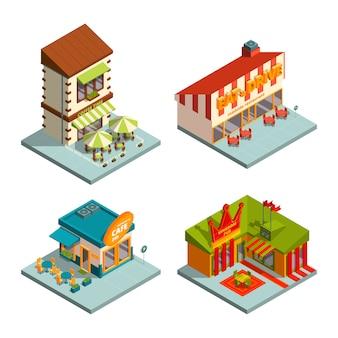 Restaurantes e casas de café. edifícios isométricos