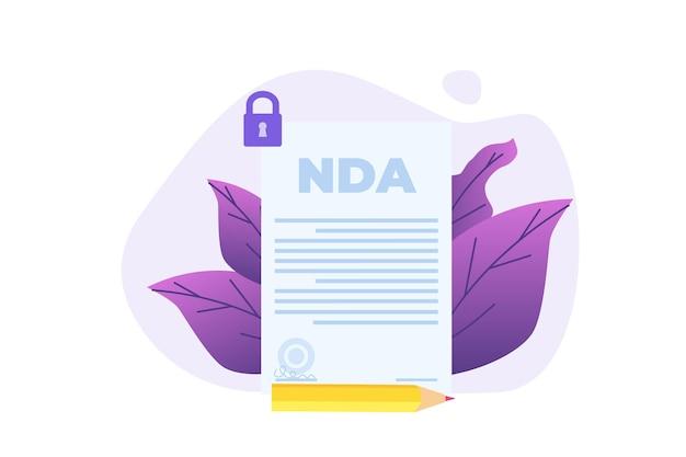 Restrições legais, contrato de acordo de não divulgação ou ícone de nda. ilustração em vetor.