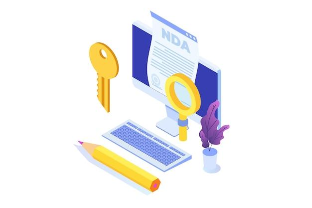Restrições legais, contrato de acordo de não divulgação ou ícone de nda. ilustração isométrica do vetor.