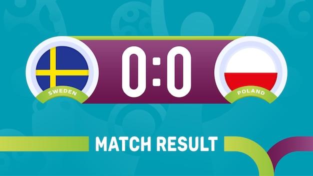 Resultado da partida da suécia e da polônia, ilustração do campeonato europeu de futebol de 2020.