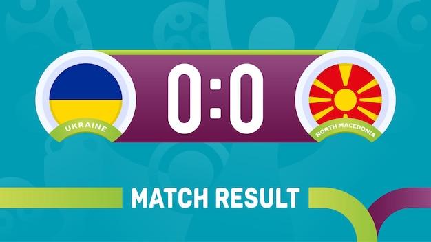 Resultado da partida da ucrânia ao norte da macedônia, ilustração do campeonato europeu de futebol de 2020.