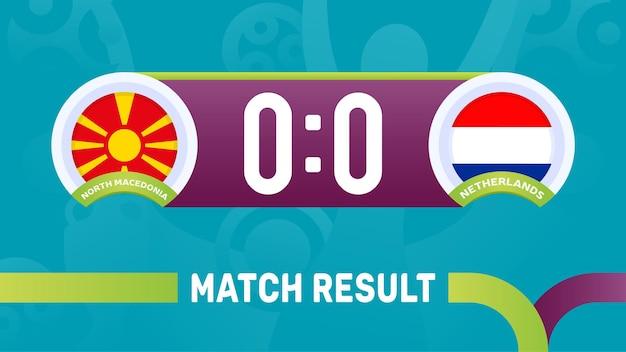 Resultado da partida de holanda do norte da macedônia, ilustração do campeonato europeu de futebol de 2020.