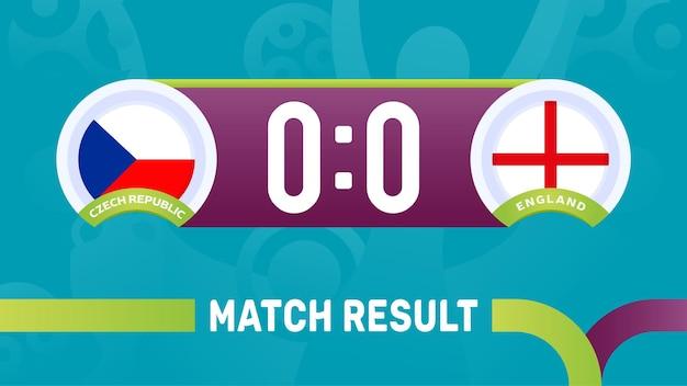 Resultado da partida de inglaterra da república checa, ilustração do campeonato europeu de futebol de 2020.