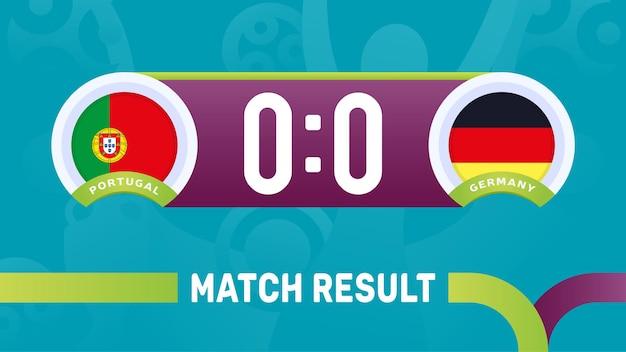 Resultado da partida portugal vs alemanha, ilustração do campeonato europeu de futebol de 2020.