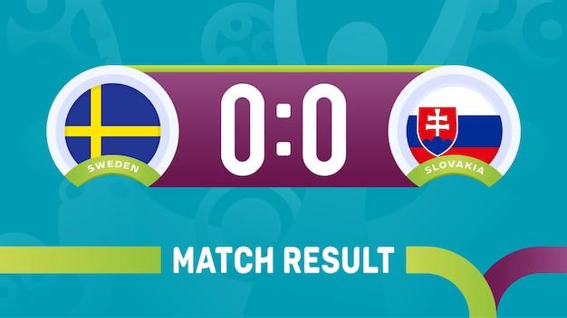 Resultado da partida suécia e eslováquia, ilustração do campeonato europeu de futebol de 2020