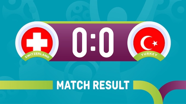 Resultado da partida suíça vs turquia, ilustração do campeonato europeu de futebol de 2020.