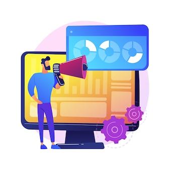 Resultados da pesquisa na internet. pesquisa de marketing, análise de relatórios, questionário. personagem de desenho animado do comerciante com megafone. infográficos na tela do monitor.