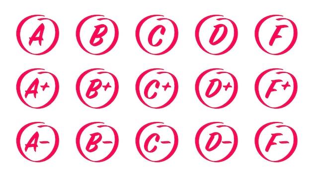 Resultados de notas desenhados à mão notas com círculos letras de resultados de exames e mais marcas de notas