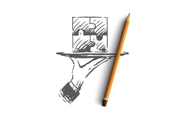 Resultados, quebra-cabeça, conexão, solução, conceito de trabalho em equipe. quebra-cabeça desenhado de mão concluído, símbolo do esboço do conceito de resultado.