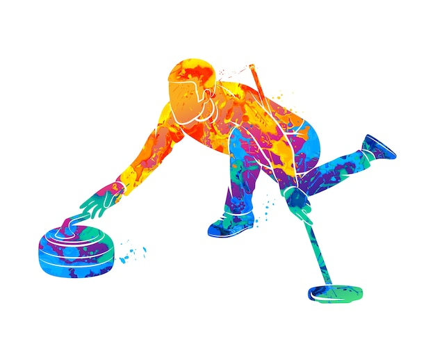 Resuma o jogo de curling com respingos de aquarelas. encrespador. ilustração de tintas.