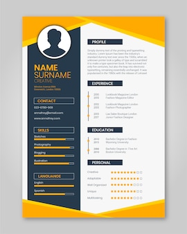 Resume template orange