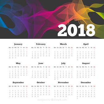 Resumo 2018 calendário com formas coloridas