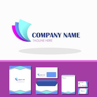 Resumo 3 logotipo de papel com amostra estacionária