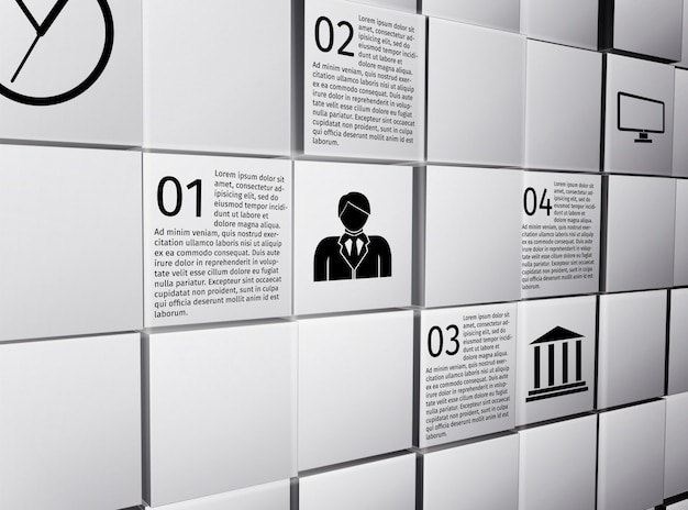 Resumo 3d cubos parede modelo de layout de design infográfico para ilustração em vetor relatório apresentação