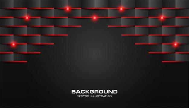 Resumo 3d dobre papel padrão geométrico luxo preto escuro com luz vermelha brilhante
