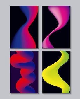 Resumo abrange cores de banners de fluidos de néon derretidas