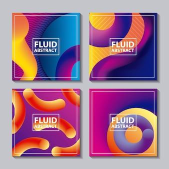 Resumo abrange fluidos cores néon banners