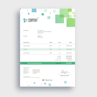 Resumo abstrato verde e azul, modelo de fatura para o seu negócio.