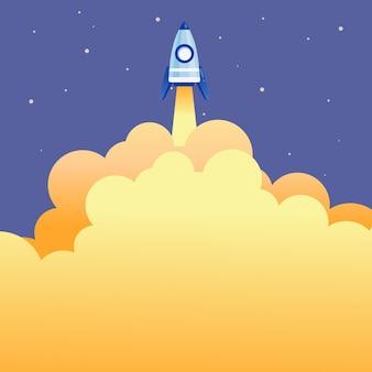 Resumo alcançando alto nível de apresentação de ciência de foguetes projeta conceito colorido de viagens espaciais