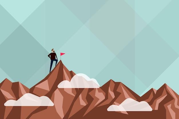 Resumo atingindo a meta de resultado de conceitos de trabalho árduo, designs motivacionais coloridos