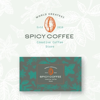 Resumo café picante logotipo e modelo de cartão.