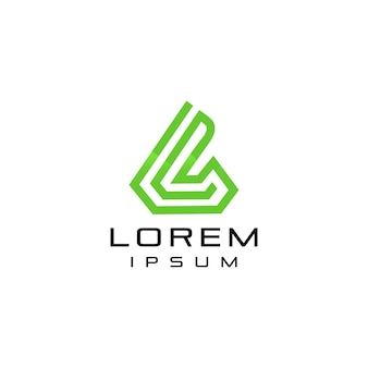 Resumo carta l logotipo com linha de forma moderna