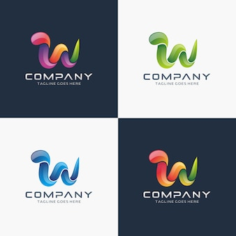 Resumo carta w design de logotipo com cor de opção
