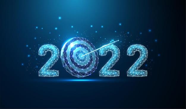 Resumo cartão de felicitações de feliz ano novo de 2022 com seta alcançada no centro do tabuleiro de dardos low poly