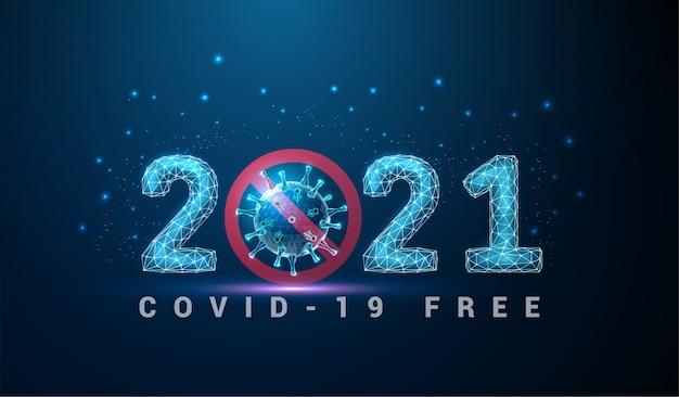 Resumo cartão de feliz ano novo de 2021 com coronavirus. design de estilo low poly. fundo geométrico abstrato. estrutura de luz em wireframe. conceito gráfico 3d moderno.