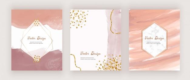 Resumo cartões de meados do século com formas aquarela, confetes glitter dourados e molduras geométricas em mármore branco.