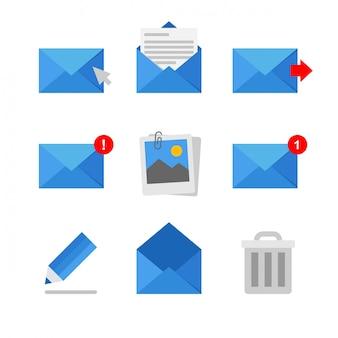 Resumo coleção de ícones de correio e mensagem