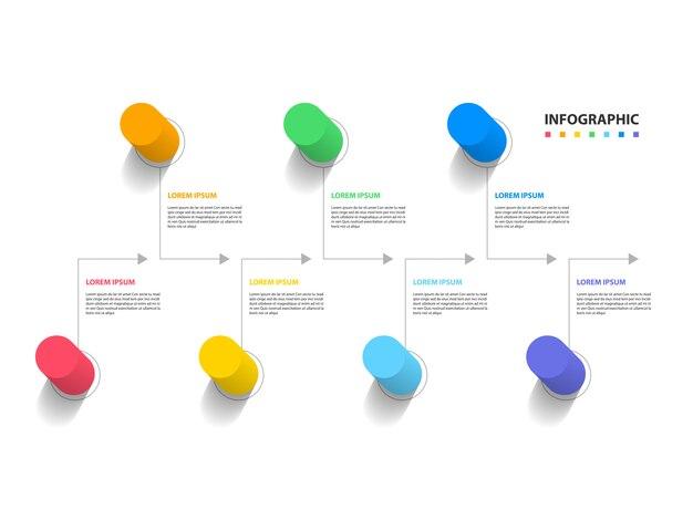 Resumo colorido da linha do tempo infográfico