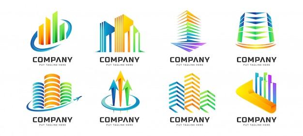 Resumo colorido edifício torre logo coleção para negócios