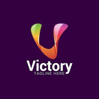 Resumo colorido gradiente letra v logotipo