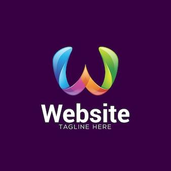 Resumo colorido gradiente letra w logotipo